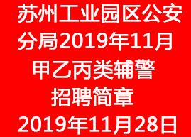 苏州工业园区公安分局2019年11月甲乙丙类辅警招聘简章