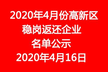 2020年4月份高新区稳岗返还企业名单公示