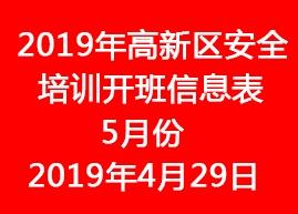 2019年苏州高新区安全培训开班信息表--5月份