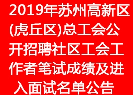 2019年苏州高新区(虎丘区)总工会公开招聘社区工会工作者笔
